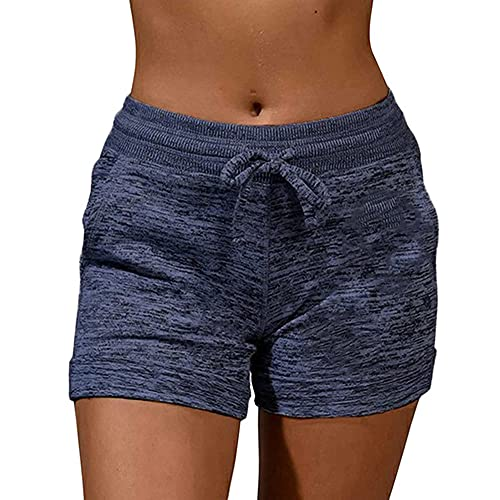 N\P Summer Quick-Drying Drawstring paw Print Shorts lace high Waist Elastic Cotton Shorts Blue