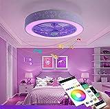 Luces de techo LED con altavoz Bluetooth, APP + control remoto, ventilador de techo silencioso con luz, luces de techo ajustables blanco cálido / frío / RGB, sala de estar del dormitorio 58 cm / 84 W