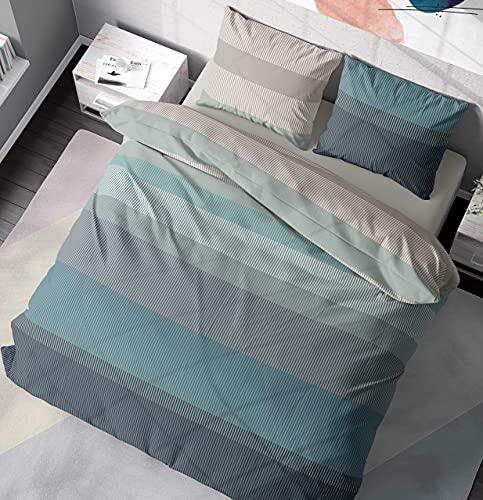 DILIOS Bettwäsche 135x200 2teilig Baumwolle Renforcé Türkisblau Grau Streifen 100% Atmungsaktive Angenehme Baumwollbettwäsche - Bettbezug 135 x 200 cm + Kissenbezug 80 x 80 cm mit Reißverschluss