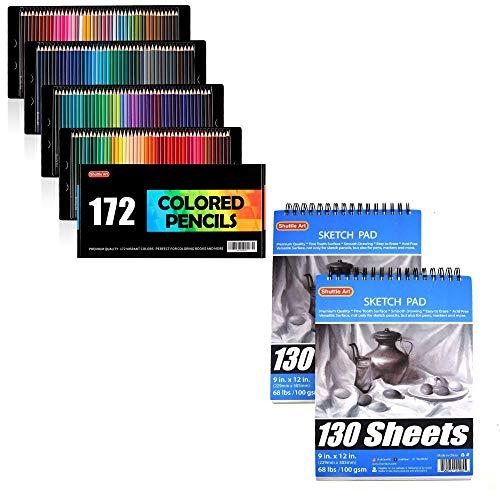 Shuttle Art Colored Pencils Bundle, Set of 172 Colors Colored Pencils + 260 Sheets Artist Sketch Books