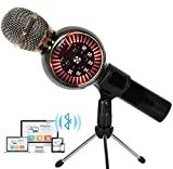 Karaoke Microphone Wireless Bluetooth Microphone for Kids Portable Handheld Karaoke Machine Home Party with LED Lights Duet Singing Recording for Android iPhone iPad PC - 1PCS (Black)