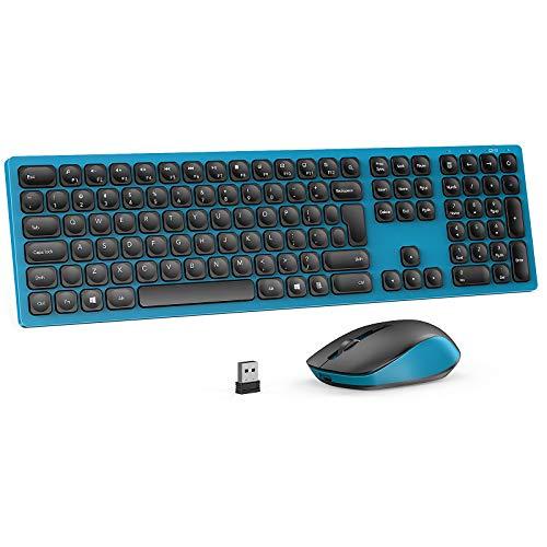 Jelly Comb 2.4G Funktastatur mit Maus Set, Kabellose Ultraslim Fullsize USB Tastatur Maus Kombi Wiederaufladbar für Windows PC, Laptop, QWERTZ Deutsches Layout,Schwarz und Blau