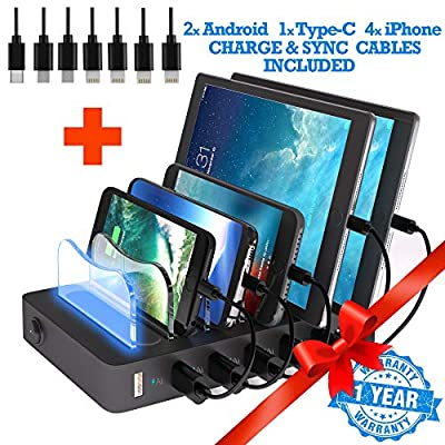 TIMSTOOL 6 USB Charging Station for Multiple Devices - No Buzz - LED Indication - Smart Fast Charging Dock Compatible with iPhone iPad Cellphone Black by TIMSTOOL