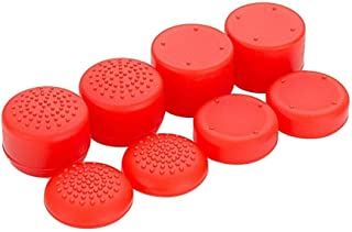 8PCS Rubber Thumbstick Grip Cover For PS4 PS3 Xbox One 360 Controller - Red