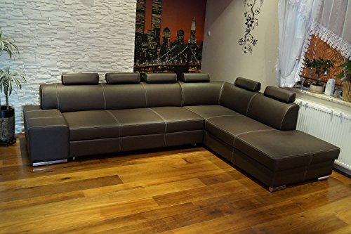 Quattro Meble Echtleder Ecksofa London II 6z 300 x 220 Sofa Couch mit Schlaffunktion, Bettkasten und Kopfstützen Echt Leder mit Ziernaht Eck Couch große Farbauswahl