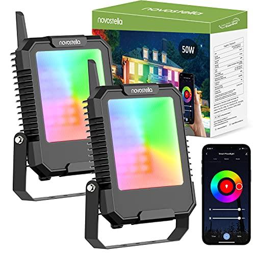 Novostella Focos LED RGB 50W de Exterior 2 Piezas, BLink Proyector LED Inteligente Control APP 16 Millones de Colores y 8 Modos Sincronizada con Música, IP66 Impermeable para Jardín Patio Fiesta