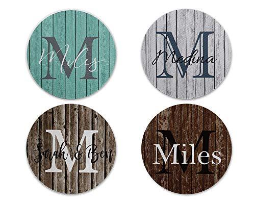 Personalized Coasters Custom Faux Barnwood Family Name Wedding Gift