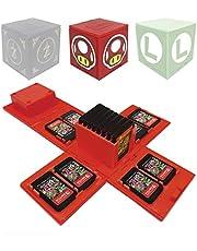Funda de Juego - Compatible para Nintendo Switch Compatible con hasta 24 Juegos de Nintendo Switch Organizador de Tarjeta de Juego Contenedor de Viaje (Seta Rojo)