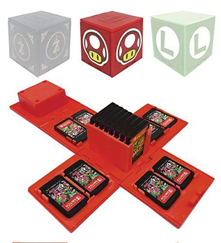 VANDA Etui kompatibel Für Nintendo Switch - Passend für bis zu 16Nintendo Switch Spiele Aufbewahrungssystem Spielkarten Organizer Reisebox Hartschalen Set mit16 Slots Inserts (Pilz rot)