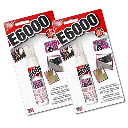 E6000 Fray Lock Doppelpack 2 x 59,1 ml Klarer Kleber für Jeans, gerissene Nähte & Säume Dichtungsknoten