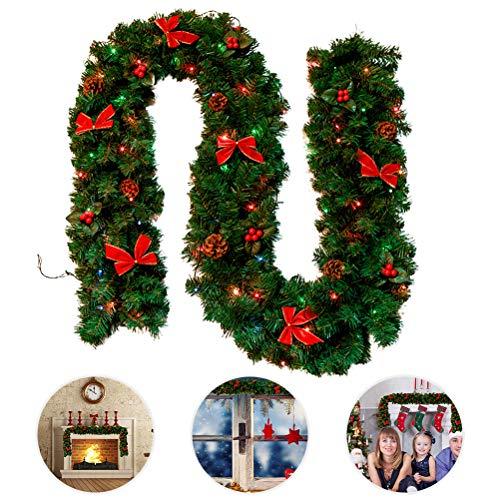 Smosyo Christmas Wreath Artificial Christmas Rattan con Cadena de Luces LED para árbol de Navidad Escalera Puerta Chimenea Decoraciones para árboles de Navidad
