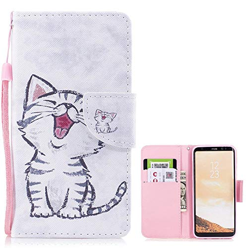 LAPOPNUT for Samsung Galaxy S8 Case Premium PU Leather Flip Case Cute 3D Paintings with Card Slot Wrist Strap Magnetic Protective Cover Stand Wallet Case for Galaxy S8, Yawning Cat