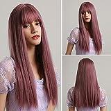 HAIRCUBE Peluca recta larga de Haircube, pelucas sintéticas para mujeres Pelucas de Púrpura Luz Natural con Bangs Pelucas Resistentes al Caliente Partido Cosplay