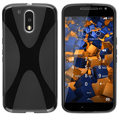 mumbi Hülle kompatibel mit Lenovo Moto G4 / G4 Plus Handy Hülle Handyhülle, schwarz