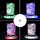 JOLIGAEA 6 Posavasos LED Multicolor para Bebidas, con Encendido y Apagado, Desechables LED, Posavasos Impermeables para Botellas, Posavasos de acrílico Redondo