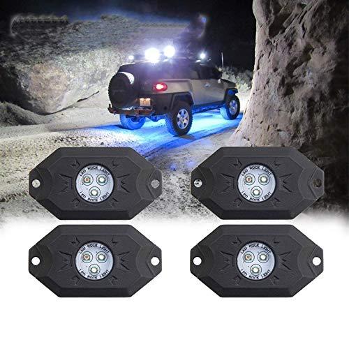 Luces de Carrera RGB de 4 vainas con Controlador Bluetooth Kit de luz LED de neón Multicolor Remoto para sincronizar el Modo de música Intermitente, fácil de Instalar