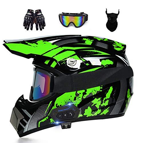 DYOYO Casco Profesional Motocross Offroad Helmet Bluetooth con Gafas Máscara Guantes Cascos Dirt Bike ATV Motocicleta Casco Guantes Gafas Ideal ECE Homologado para Niño Adultos Bicicleta