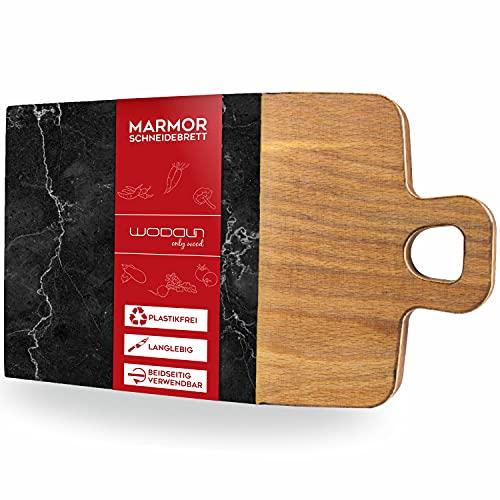 WODDUN Tabla de cortar de mármol, 37 x 20 x 2,2 cm, tabla de trinchar, madera orgánica, plato de carne, duradera, sin plástico