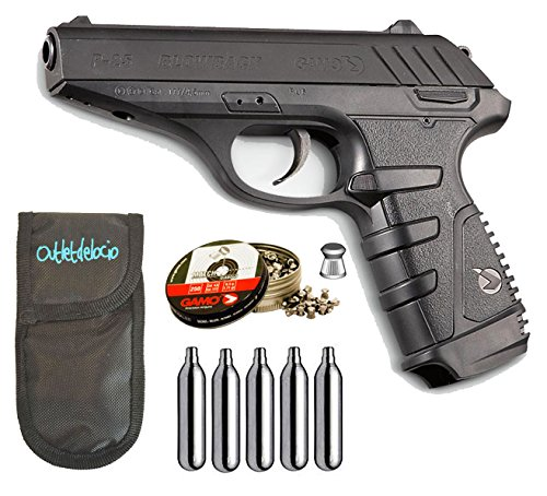 Outletdelocio. Pistola Perdigón Gamo P-25 Blowback. Calibre 4,5mm. + Funda Portabombonas + Balines + Bombonas co2.