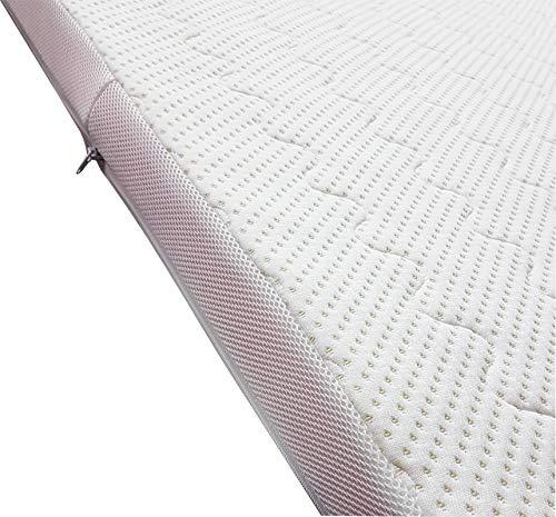 Moon-Luxury Visco Topper mit Bambus Doppeltuch Bezug 8cm für Matratzen & Boxspringbett Memory Foam Matratzenauflage mit Befestigungsbändern, Made in Europa 160 x 200 x 8 cm