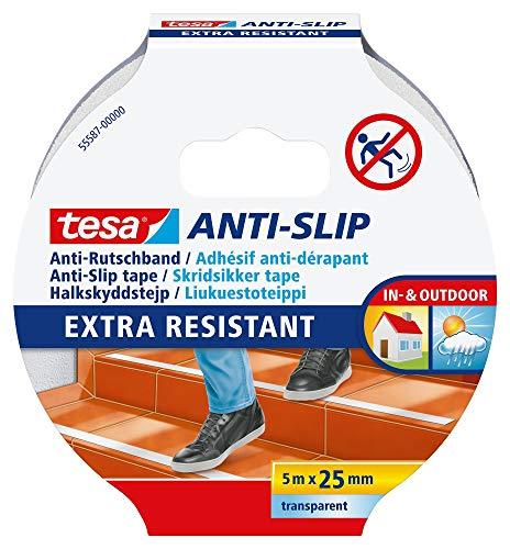 tesa Anti-Rutschband - Rutschfestes Klebeband für innen und außen - Für Treppen, Leitern und glatte Böden, Transparent/Weiß, 5 m x 25 mm