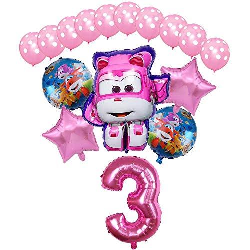 XIAOYAN Globos 16pcs Super Wings Balloon Jett Globloons Super Wings Toys Fiesta de cumpleaños 32 Pulgadas Número Decoraciones Niños Juguete Globos Suministros ( Color : Pink3 )