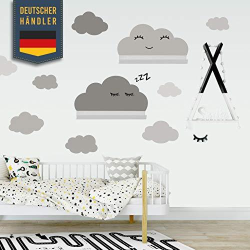Clouds muursticker set zelfklevend geschikt voor IKEA RIBBA/MOSSLANDA wandplank - muurstickers, stickers in babykamer behangstickers om op te plakken, meubelfilm voor jongens, meisjes in grijs