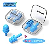 10 Pairs Ear Plugs for Sleeping Noise Cancelling, Swimming, Snoring, Concerts, 32dB Highest NRR, Soft Reusable Silicone Earplugs Suitable for Adults & Kids