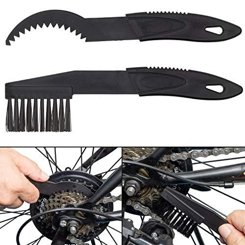 Reinigungsbürsten für Antriebsketten, 2 Pack, schwarz, Nylon Bürstenköpfe, für Fahrrad- und Motorrad-Kette, Kettenreinigungsgerät, Kettenbürste für Kettenglieder, Schaltung, Zahnkranz, Ritzel Bürste