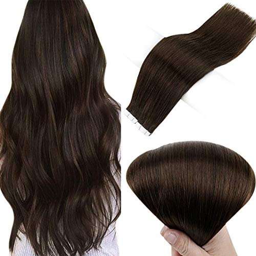 Full Shine Tape in Human Hair Extensions 100g Dark Brown Hair Extensions Tape in 22 Inch Invisible Tape in Extensions Color 2 Glue In Hair Extensions 40 Pieces