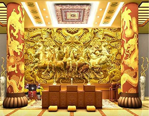 Wallpapers Muurschildering Aangepast Wallpaper Longma Spirit Gold Dragon Acht Paarden Paard Goud 3D Tv Achtergrond Muur Behang 250 * 175cm