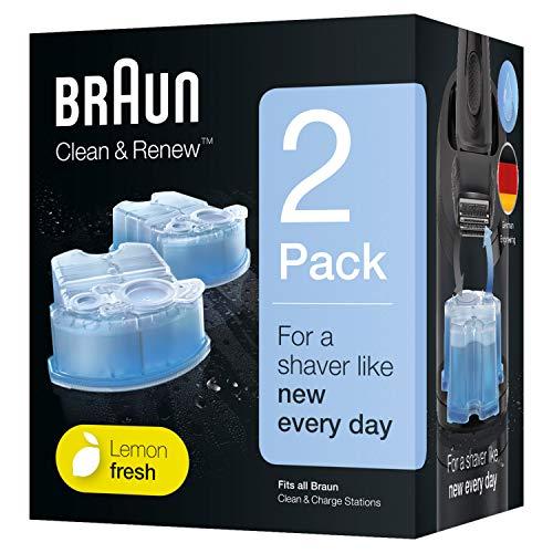 Braun Clean&Renew Ersatzkartuschen für elektrische Rasierer, 2er-Pack, kompatibel mit allen Braun SmartCare und Clean&Charge Reinigungsstationen
