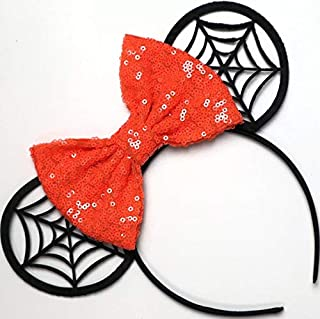 CLGIFT Halloween Minnie Mouse Sequin Ears Orange Mickey Mouse Sequin Halloween Ears Orange Mickey Ears, Rainbow Sparkle Mouse Ears,Classic Red Sequin Minnie Ears (orange black web)