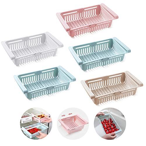 KühlschrankSchubladen Organizer, Ausziehbare Aufbewahrungsbox,Kühlschrank Lagerung Korb (Weiß + Pink + Aprikose + 2 Blau)