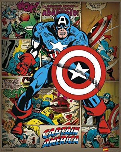 Pyramid International Captain America Retro Marvel Comics Mini Poster Plastique/Verre Multicolore 40 x 50 x 1,3 cm