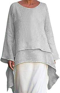TIFIY Taglie Forti Top Moda Donna Irregolare Camicia Girocollo Manica Lunga in Lino Casual Camicia Estiva