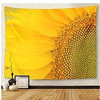 Lmhecyf タペストリータペストリー黄色い花ひまわりグリーンフィールド花びらタペストリー壁掛けリビングルーム寝室寮150x100cm