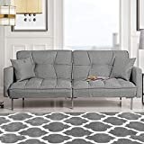 Divano Roma Furniture Collection Modern Plush Tufted Linen Fabric Splitback Living Room Sleeper Futon (Light Grey)