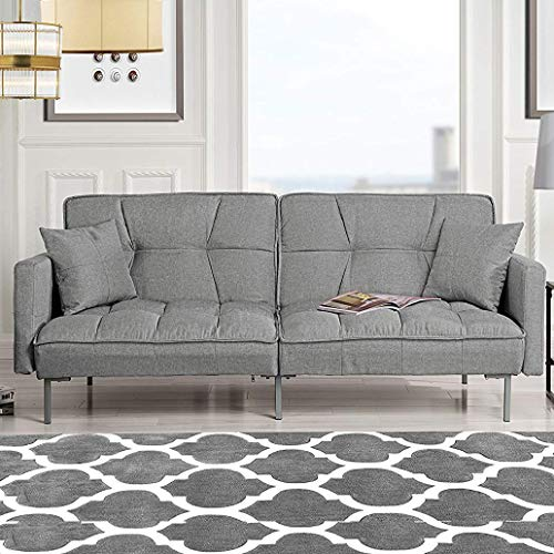 Divano Roma Furniture Collection Modern Plush Tufted Linen Fabric Splitback Living Room Sleeper Futon (Light Grey)