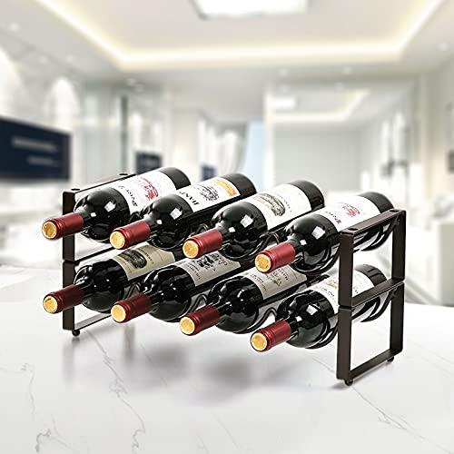 KINLO Weinregal Metall für 8 Flaschen stapelbar Flaschenregal Wein Regal Max Belastung: 15 kg/ Stück vintagebraun Weinhalter 42.7*17*20cm Anti-Rost Weinständer für Kellern/ Lagerräumen/ Kühlschränken