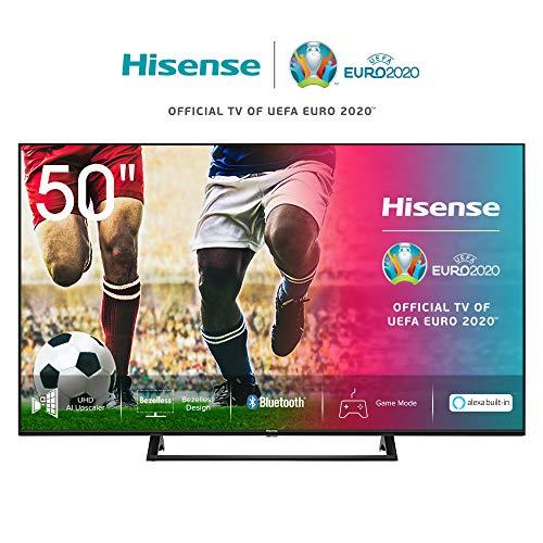 Hisense 50AE7200F 126 cm (50 Zoll) Fernseher (4K Ultra HD, HDR, Triple Tuner DVB-C/S/S2/T/T2, Smart-TV, Mittelstandfuß, Frameless, Bluetooth, Alexa) [Modelljahr 2020]