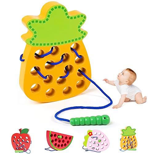 O-Kinee Montessori Spielzeug, Holz Ananas Lernspielzeug Fädelspielzeug, früh Lernen Feinmotorik Pädagogisches Geschenk Aktivitäts Spielzeug für Baby und Kleinkind
