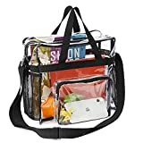 Clear Bag Stadium Approved, Transparent Tote Bag and See Through Tote Bag for Work, Sports Games and Concerts-12 x12 x6 (Black)