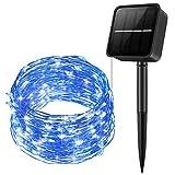 Criacr Solar Lichterkette Aussen, 10M 100 LED Lichterkette Außen, 8 Modi, IP65 Wasserdicht Solarlichterkette, Außenlichterkette für Balkon, Gartendeko, Bäume, Terrasse, Hochzeiten, Partys (Blau)