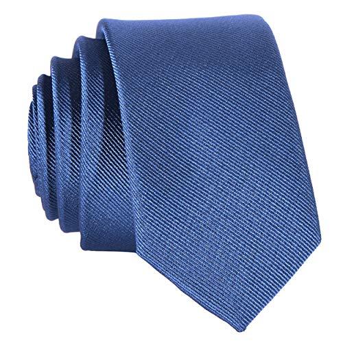 DonDon Corbata estrecha 5 cm de color azul tejanos - hecho a mano
