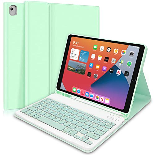 """Custodia Tastiera per iPad 10,2"""" 2020/2019(8a e 7a generazione)/iPad Air 3 2019/iPad Pro 10,5 2017–Custodia Protettiva con Supporto per Apple Pencil, Tastiera Staccabile Wireless per ipad 10,2(Verde)"""