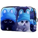 Bolsa de maquillaje de elfo azul, bolsa de maquillaje, bolsa de cosméticos para mujeres, bolsa de viaje, bolsa de aseo para niñas
