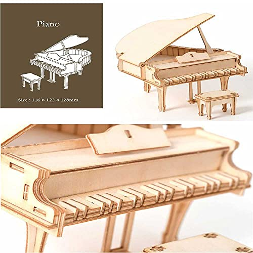 MEIXIANG Corte Láser 3D Rompecabezas De Madera Velero Biplano Tren Juguetes Kits De Montaje Decoración De Escritorio para Niños Piano