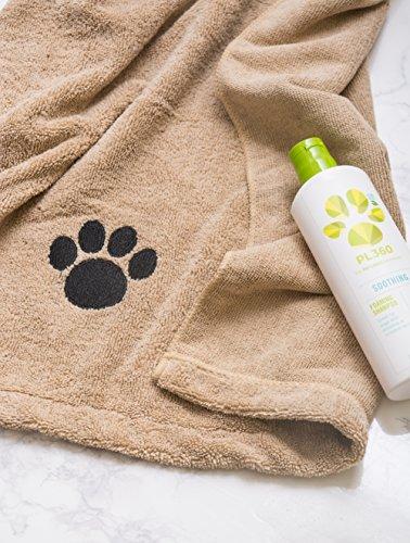DII Bone Dry Microfiber Dog Bath Towel with Embroidered Paw Print - 44x27.5' - Taupe