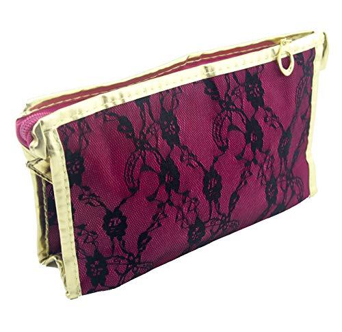 HAND® Or plumier Garniture Dentelle Noire Rose foncé/Sac de Maquillage avec Miroir - 230 x 140 mm